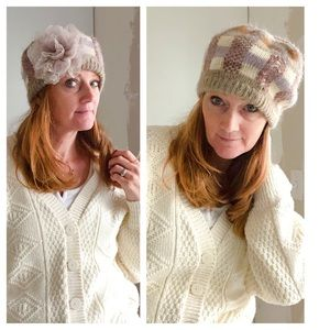 Vintage Knit Winter Hat Plaid Neutral wool Blend